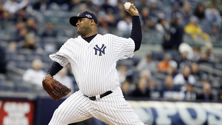 New York Yankees' CC Sabathia delivers a pitch during the first inning of Game 5 of the American League division baseball series against the Baltimore Orioles, Friday, Oct. 12, 2012, in New York. (AP Photo/Kathy Willens)