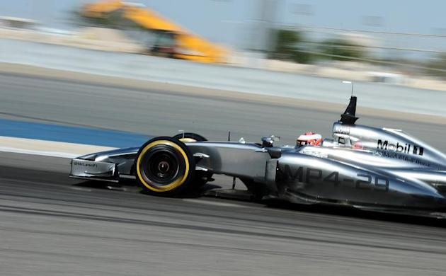 McLaren F1 Team car on March 1, 2014 during four-day pre-season Formula One testing at Bahrain's Sakhir circuit