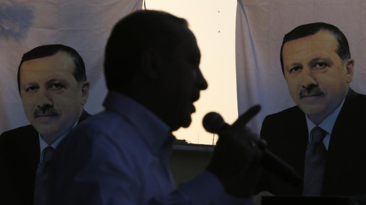 Turkey's Prime Minister and presidential candidate Tayyip Erdogan speaks during an election rally in Diyarbakir