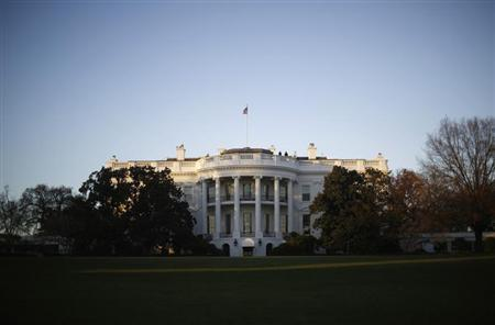 White House is pictured at sunset in Washington