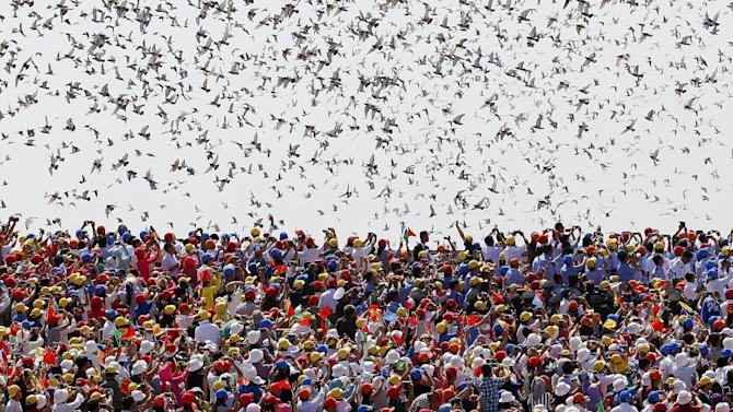 Birds are released at the end of the military parade marking the 70th anniversary of the end of World War Two, in Beijing
