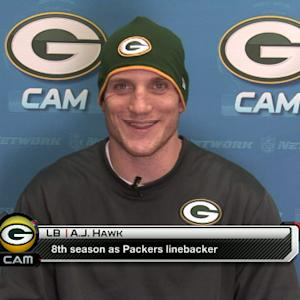 Green Bay Packers linebacker A.J. Hawk reacts to the benching of RGIII