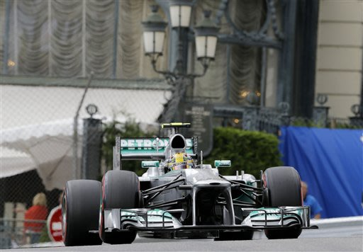 Mercedes driver Lewis Hamilton of Britain steers his car during the third free practice at the Monaco racetrack, in Monaco, Saturday, May 25, 2013. The Formula one race will be held on Sunday