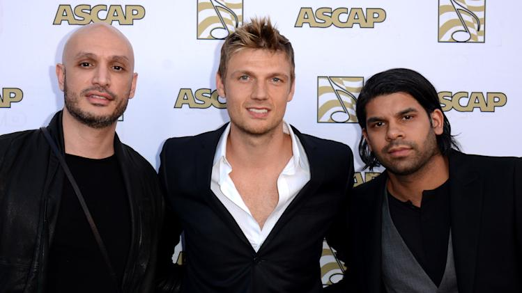 "Hip Hop producer Noah ""40""  Shebib, singer/song-writer Nick Carter and songwriter Carl Falk arrive at the 30th Annual ASCAP Pop Music Awards, on Wednesday, April 16, 2013, at Loews Hollywood Hotel in Hollywood, California. (Photo by Tonya Wise/Invision for ASCAP/AP Images)"