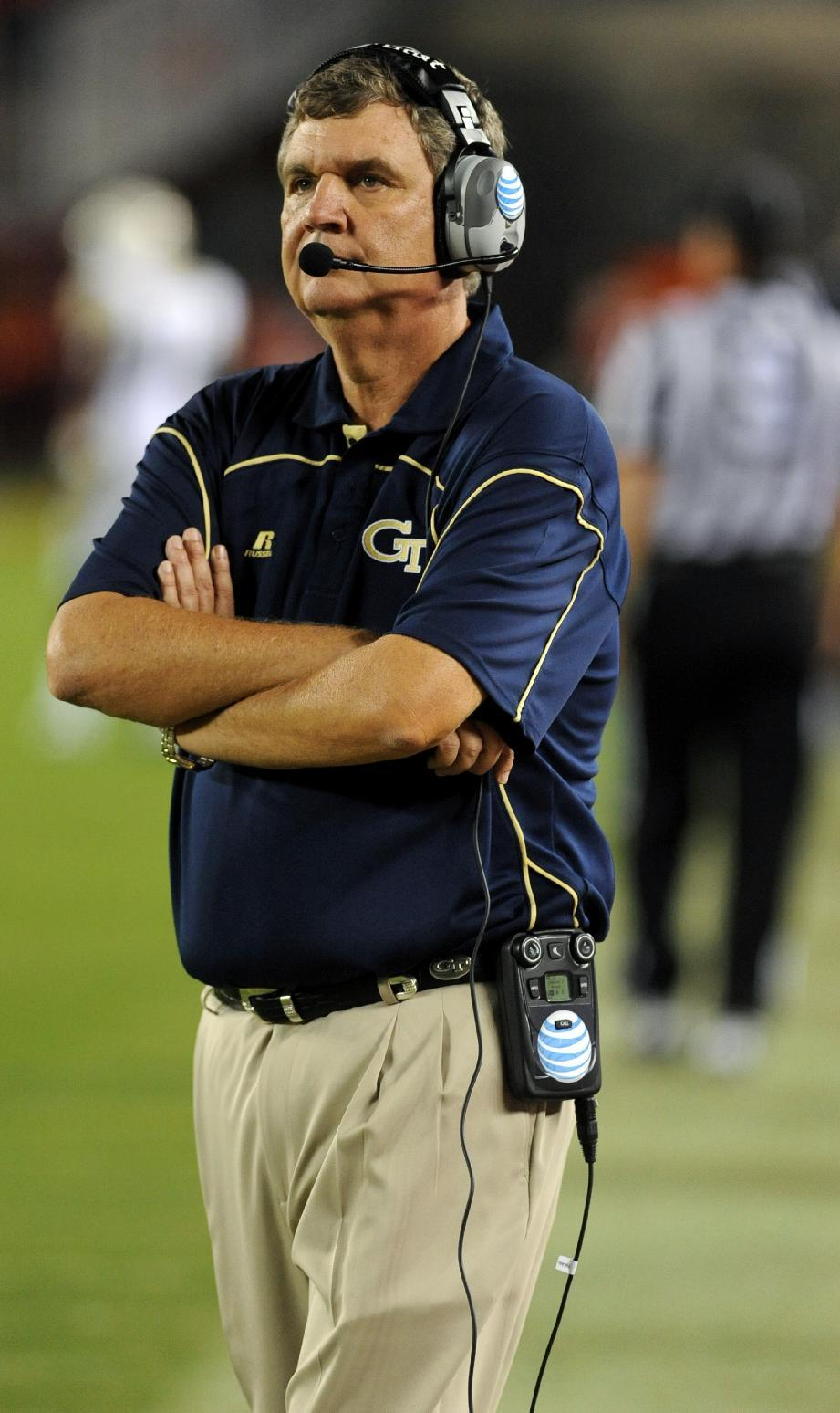 Georgia Tech head coach Paul Johnson watches his team against Virginia Tech during the second half of an NCAA college football game, Monday, Sept. 3, 2012, at Lane Stadium in Blacksburg, Va. Virginia Tech won 20-17 in overtime. (AP Photo/Don Petersen)
