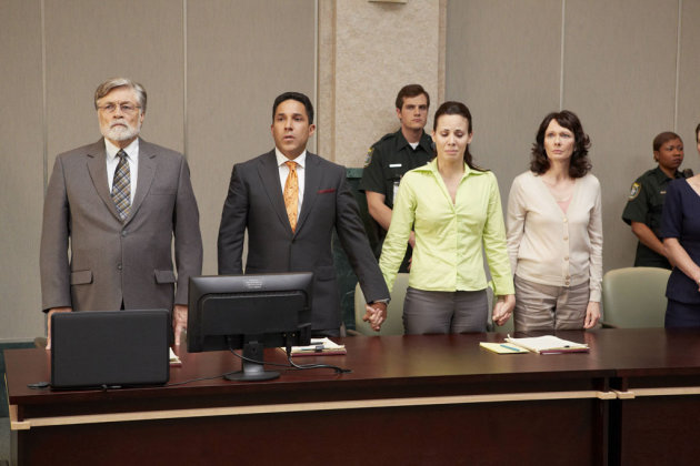 "Art Hindle (Cheney Mason), Oscar Nunez (Jose Baez), Virginia Welch (Casey Anthony) and Miriam Smith (Dorothy Sims) in the Lifetime Original Movie, ""Prosecuting Casey Anthony."""
