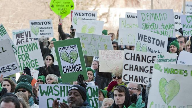 People hold signs during a rally at the Capitol in Hartford, Conn., Thursday, Feb. 14, 2013. Thousands of people turned out to call on lawmakers to toughen gun laws in light of the December elementary school shooting in Newtown that left 26 students and educators dead. (AP Photo/Jessica Hill)