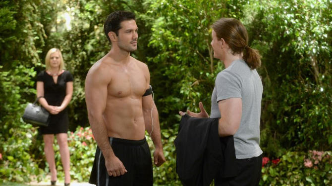 """This photo released by ABC shows Ryan Paevey as Nathan, center, Zachary Garred as Levi, right, and Kirsten Storms as Maxie, in a scene from ABC Daytime's """"General Hospital,"""" which airs Monday-Friday (2:00 p.m. - 3:00 p.m., ET) on the ABC Television Network. The hosts of the Daytime Emmy Awards ceremony's red carpet show drew sharp criticism for remarks they made to celebrities attending the Emmys. Peavey was the subject of one of the red-carpet jokes that observers called inappropriate. (AP Photo/ABC, Todd Wawrychuk)"""