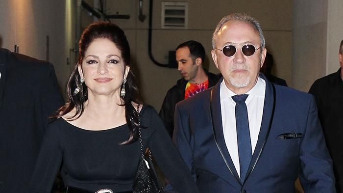 Gloria and Emilio Estefan arrive for Emilio's 60th birthday celebration at Bongo's Cafe in Seminole Hard Rock Hotel and Casino
