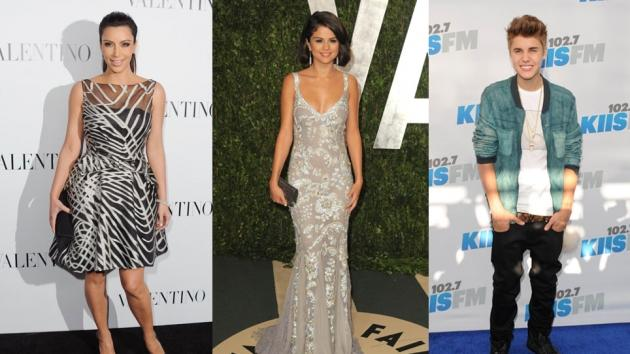 Kim Kardashian at Valentino's 50th Anniversary on March 27, 2012 (left); Selena Gomez at the 2012 Vanity Fair Oscar Pary on February 26, 2012 (middle); Justin Bieber attends 102.7 KIIS FM's Wango Tango on May 12, 2012 (right)  -- Getty Images
