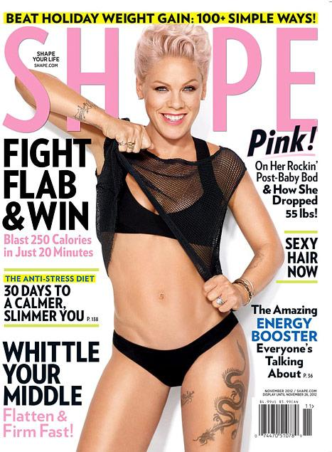 Pink Flaunts 55-Pound Post-Baby Weight Loss, Amazing Abs on Cover of Shape