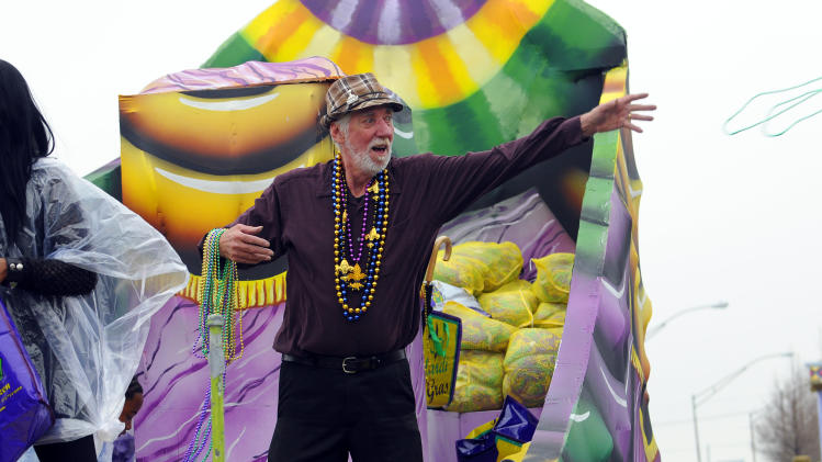 Actor Lowell Landis of the Academy Award nominated film Beasts of the Southern Wild, throws beads in the Argus parade on Mardi Gras on Tuesday, Feb. 12, 2013 in Metairie, La. (Photo by Cheryl Gerber/Invision for Fox Searchlight Pictures/AP Images)