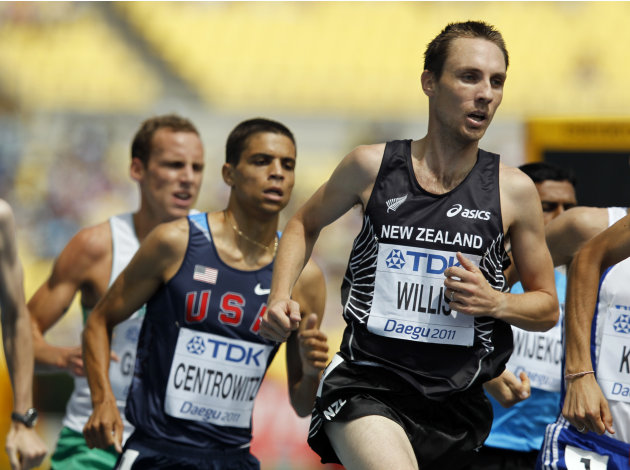 New Zealand's Nick Willis races during a Men's 1500m heat at the World Athletics Championships in Daegu, South Korea, Tuesday, Aug. 30, 2011.  (AP Photo/Anja Niedringhaus)