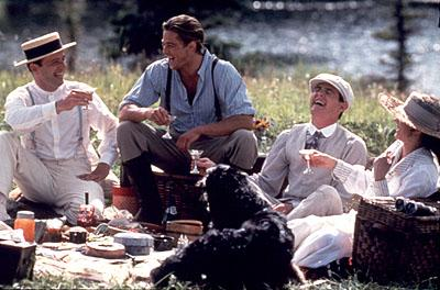 Aidan Quinn , Brad Pitt , Henry Thomas and Julia Ormond in Legends of the Fall