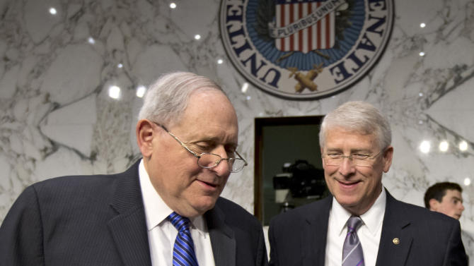 """Senate Armed Services Committee Chairman Sen. Carl Levin, D-Mich., left, and Sen. Roger Wicker, R-Miss., talk on Capitol Hill in Washington, Wednesday, April 17, 2013, before a hearing with Defense Secretary Chuck Hagel. A letter addressed to Wicker, believed to be poisoned with ricin or a similarly toxic substance, was intercepted at a mail facility outside the capital earlier this week. Levin issued a statement saying an aide in his Saginaw, Mich., office had also received a suspicious-looking letter. """"The letter was not opened, and the staffer followed the proper protocols for the situation, including alerting the authorities, who are now investigating,"""" Levin said in a statement. (AP Photo/J. Scott Applewhite)"""