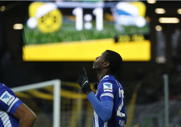 Hertha Berlin's Ramos celebrates a goal against Borussia Dortmund during the German first division Bundesliga soccer match in Dortmund