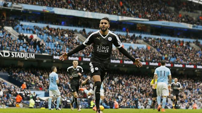 Leicester City's Riyad Mahrez celebrates scoring their second goal
