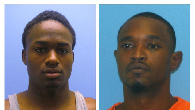 These undated photos provided by the Miller County, Ark., Sheriff's Department show Cortez Hooper, left, 23, and Quincy Stewart, 35. Authorities are searching Tuesday, May 29, 2012, for the two murder suspects who escaped a southwest Arkansas jail on Monday by a using a hacksaw blade to saw through metal bars covering a window. (AP Photo/Miller County Sheriff's Department)