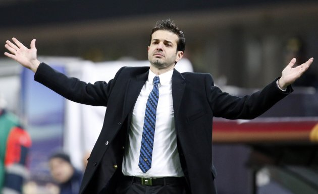 Inter Milan's coach Stramaccioni reacts during the Europa League soccer match against Tottenham Hotspur in Milan