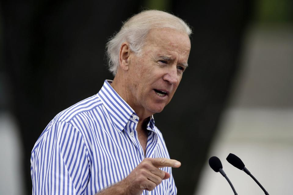 Vice President Joe Biden speaks during Iowa Sen. Tom Harkin's annual fundraising steak fry dinner, Sunday, Sept. 15, 2013, in Indianola, Iowa. (AP Photo/Charlie Neibergall)