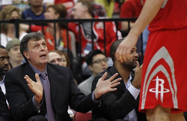 NBA Houston Rockets coach Kevin Mchale talks to players during a preseason game against the Indiana Pacers in Taipei, Taiwan, Sunday, Oct. 13, 2013. The Rockets beat the Pacers 107-98