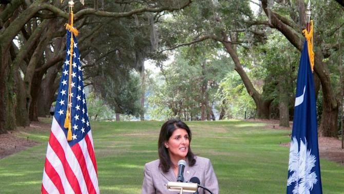 South Carolina Gov. Nikki Haley speaks about South Carolina's $15 billion tourism industry during a news conference on Wednesday, October 17, 2012, at Charles Towne Landing State Historic Site in Charleston, S.C. (AP Photo/Bruce Smith)