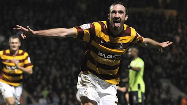 Bradford City's Rory McArdle celebrates after scoring against Aston Villa (Reuters)
