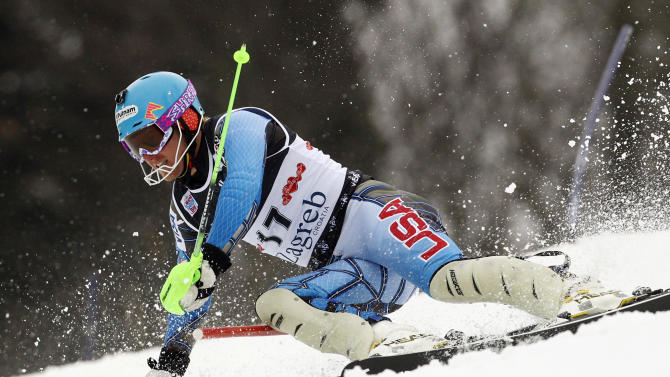 Ted Ligety from the U.S. competes during the first run of a men's World Cup slalom alpine ski event in Zagreb, Croatia, Thursday, Jan. 5, 2012. (AP Photo/Darko Bandic)