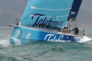 Spain&#39;s Team Telefonica skippered by Iker Martinez is pictured in action in February 2012. World sailor of the year Martinez made the worst mistake of his career to gift the Itajai in-port race to French boat Groupama and keep the Volvo Ocean Race wide open on Saturday