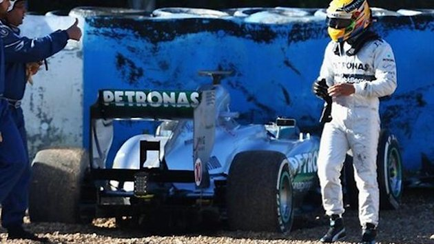 Hamilton 2013 Test Crash Mercedes