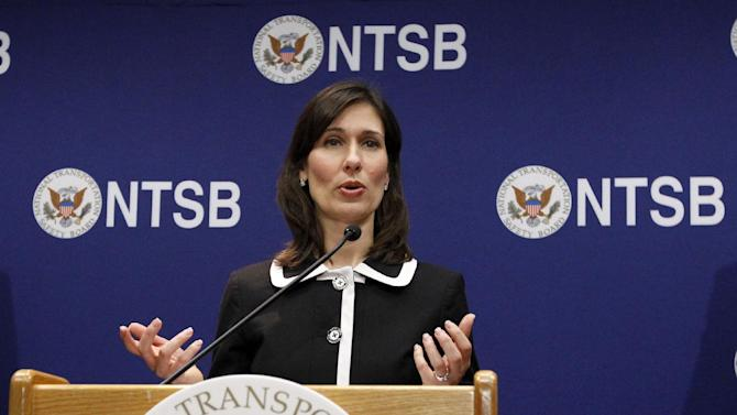 National Transportation Safety Board (NTSB) Chair Deborah Hersman gestures as she speaks during a news conference in Washington, Thursday,  Feb. 7, 2013, to provide an update on the NTSB's investigation into the Jan. 7 fire that occurred on a Japan Airlines Boeing 787 at Logan International Airport in Boston.  (AP Photo/Ann Heisenfelt)