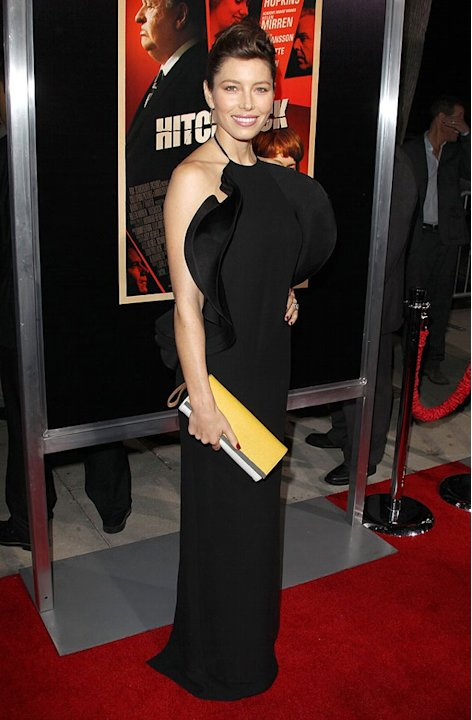 Back in La La Land, newlywed Jessica Biel popped by the premiere of &quot;Hitchcock&quot; in this polarizing frock. What do you make of Mrs. Timberlake's ruffled Gucci gown, sleek updo, and mustard-yellow Fendi
