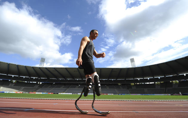 Pistorius of South Africa attends a training session ahead the upcoming Memorial Van Damme, IAAF Diamond League athletics meeting in Brussels