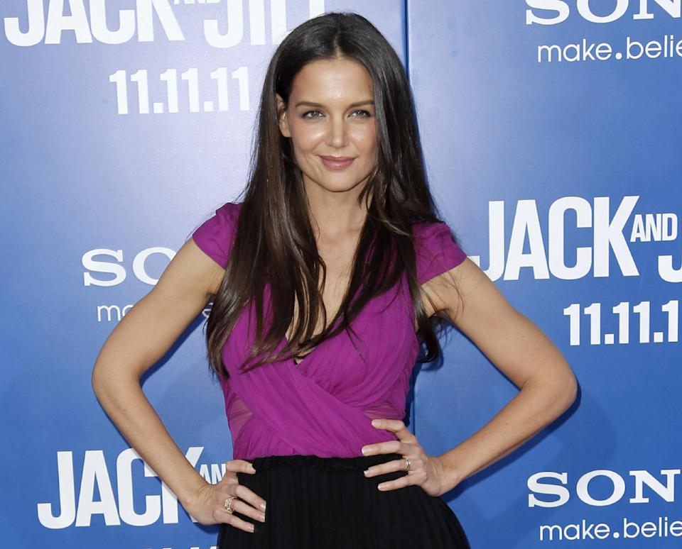"FILE - This Nov. 11, 2011 file photo shows actress Katie Holmes at the premiere of ""Jack and Jill"" in Los Angeles.  At just 33, Holmes is emerging from the public hysteria of her relationship with Cruise with open roads ahead, and, possibly, renewed ambition. (AP Photo/Matt Sayles, file)"