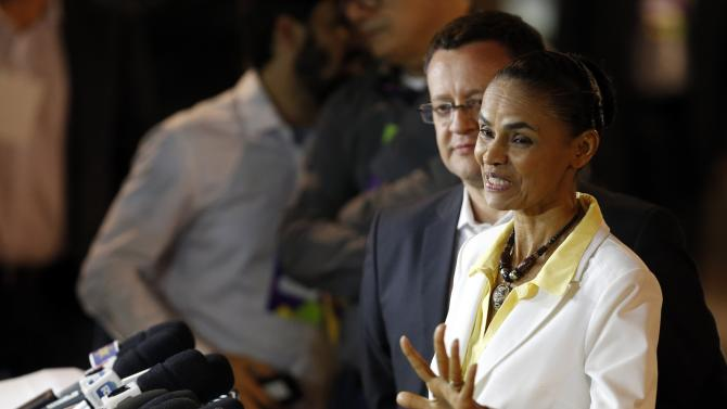 Presidential candidate Marina Silva of the Brazilian Socialist Party talks to the media after a TV debate in the city of Aparecida do Norte