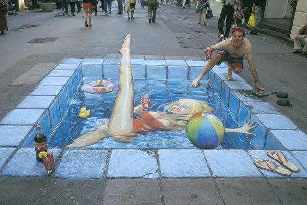 Julian Beever Sidewalk Painting - Pool