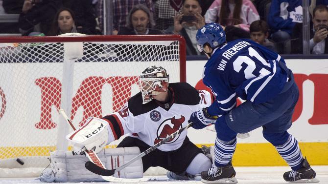 Van Riemsdyk leads Maple Leafs past Devils in SO