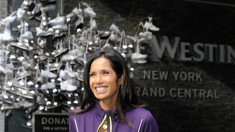 IMAGE DISTRIBUTED FOR WESTIN - Padma Lakshmi joins Westin Hotels & Resorts and New Balance to donate sneakers to benefit Soles4Souls and Hurricane Sandy relief, Thursday, Nov. 15, 2012 in New York.   Thousands of associates around the world ran a 5K in support of the brands' pledge to donate 15,000 pairs of shoes to Soles4Souls in celebration of the global launch of Westin's New Balance gear lending program.  (Photo by Diane Bondareff/Invision for Westin/AP Images)