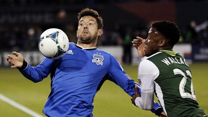 San Jose Earthquakes defender Dan Gargan, left, and Portland Timbers forward Rodney Wallace battle for the ball during the first half of an MLS soccer match in Portland, Ore., Sunday, April 14, 2013. (AP Photo/Don Ryan)