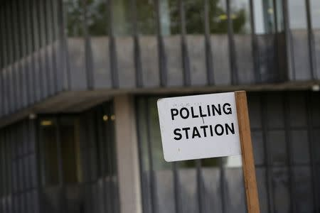 A polling station sign is seen in central London