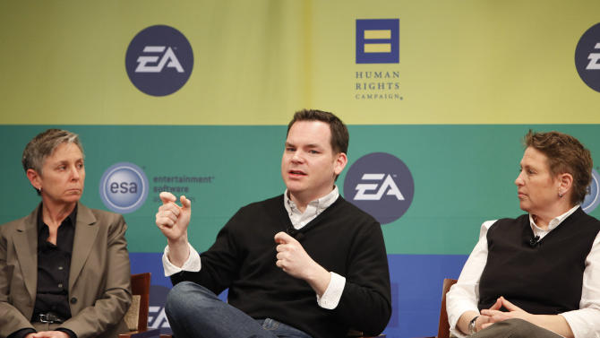 Director of the Human Rights Campaign (HRC) Family Project Ellen Kahn, Senior Director of Communications of ESA Dan Hewitt and Game Producer at Kixeye Caryl Shaw speak at Electronic Arts'  LGBT Full Spectrum Event on Thursday, March, 7, 2013 in New York City, New York. (Photo by Amy Sussman/Invision for EA/AP Images)