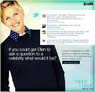 Zee Café Announces Happy Hour At 3 For The Ellen Degeneres Show image Ellenshouldask FB app