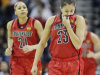 Louisville guard Shoni Schimmel (23) wipes her face during the second half of the national championship game against Connecticut at the women&#39;s Final Four of the NCAA college basketball tournament, Tuesday, April 9, 2013, in New Orleans. (AP Photo/Gerald Herbert)