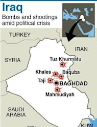 A wave of attacks in and around Baghdad and in northern Iraq killed 25 people and wounded dozens more on Tuesday, shattering a relative calm after a spate of deadly violence last week