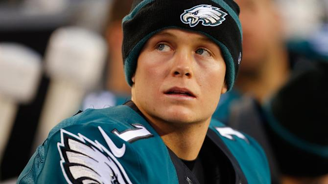 Cody Parkey of the Philadelphia Eagles looks on from the bench during a game against the Tennessee Titans on November 23, 2014 in Philadelphia, Pennsylvania