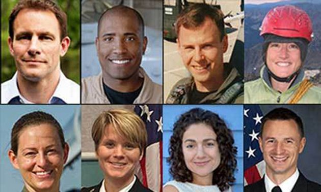 NASA's new class of astronauts. Top Row (L-R): Josh A. Cassada, Victor J. Glover, Tyler N. Hague, Christina M. Hammock. Bottom Row (L-R): Nicole Aunapu Mann, Anne C. McClain, Jessica U. Meir, Andrew R. Morgan (photos: NASA)