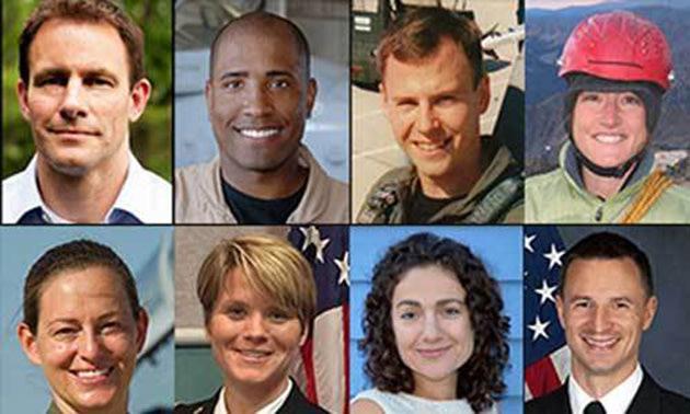 NASA's new class of astronauts. Top Row (L-R): Josh A. Cassada, Victor J. Glover, Tyler N. Hague, Christina M. Hammock. Bottom Row (L-R): Nicole Aunap...