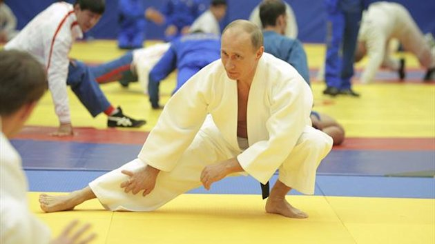 Russia's president Vladimir Putin takes part in a judo session