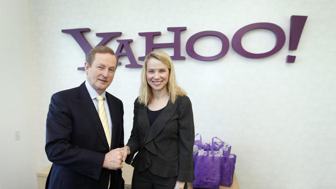 IMAGE DISTRIBUTED FOR IDA IRELAND - Yahoo Inc. CEO Marissa Mayer and Irish Prime Minister An Taoiseach Enda Kenny, pose for a photo during a visit to Yahoo headquarters in Sunnyvale, Calif., Thursday, March 21, 2013. Yahoo! will announce expansion plans for its Dublin Operations Centre, adding more than 200 new employees in the next 12 months.The company has already started recruiting for customer support, technology, operations, HR and finance which will support Yahoo!'s business across the Europe, Middle Eastern and Africa (EMEA) region.(Tony Avelar/AP Images for IDA Ireland)
