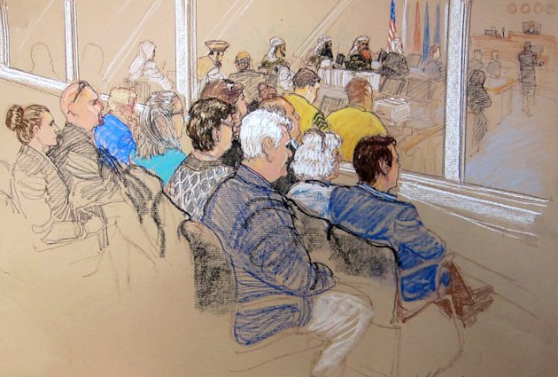 In this pool photo of a sketch by courtroom artist Janet Hamlin and reviewed by the U.S. Department of Defense, the relatives of Sept. 11 attacks victims, and staff members of the Office of Military C